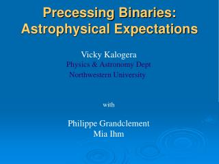 Precessing Binaries:  Astrophysical Expectations