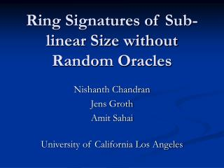Ring Signatures of Sub-linear Size without Random Oracles