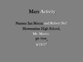 Mars  Activity