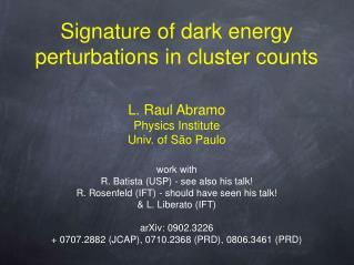 Signature of dark energy perturbations in cluster counts