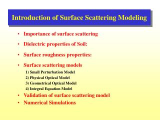 Introduction of Surface Scattering Modeling