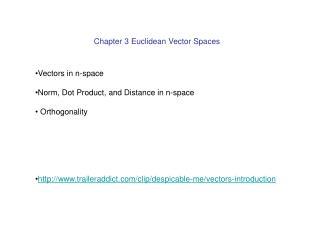 Chapter 3 Euclidean Vector Spaces