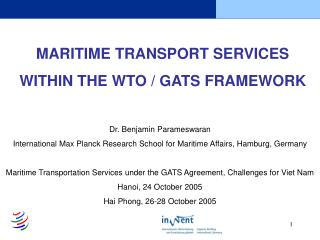 MARITIME TRANSPORT SERVICES  WITHIN THE WTO / GATS FRAMEWORK