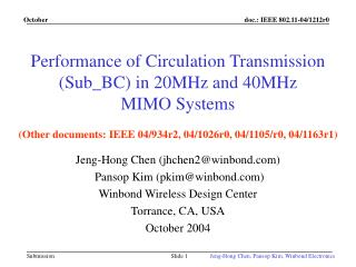 Performance of Circulation Transmission (Sub_BC) in 20MHz and 40MHz MIMO Systems