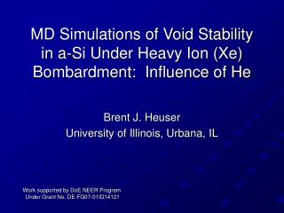 MD Simulations of Void Stability in a-Si Under Heavy Ion (Xe) Bombardment:  Influence of He