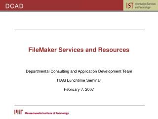 FileMaker Services and Resources