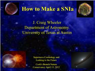 How to Make a SNIa J. Craig Wheeler Department of Astronomy.  University of Texas at Austin