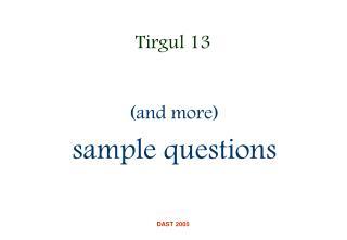 Tirgul 13