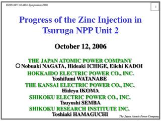 Progress of the Zinc Injection in Tsuruga NPP Unit 2