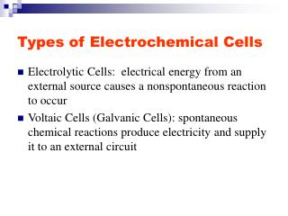 Types of Electrochemical Cells