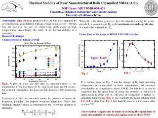 Thermal Stability of Near Nanostructured Bulk Cryomilled 5083Al Alloy NSF Grant: MET DMR-0304629