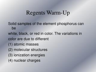 Regents Warm-Up