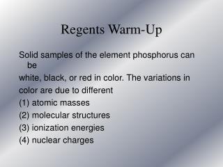 Regents Warm-Up