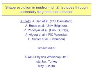 Shape evolution in neutron-rich Zr isotopes through secondary fragmentation reaction
