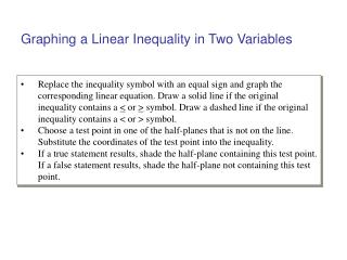 Graphing a Linear Inequality in Two Variables