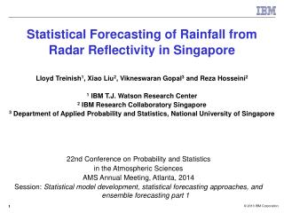 Statistical Forecasting of Rainfall from  Radar Reflectivity in Singapore