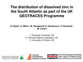 The distribution of dissolved zinc in the South Atlantic as part of the UK GEOTRACES Programme