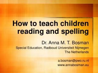 How to teach children reading and spelling