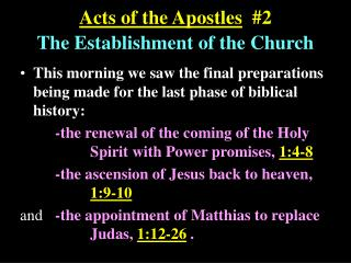 Acts of the Apostles   #2 The Establishment of the Church