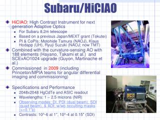 HiCIAO : High Contrast Instrument for next generation Adaptive Optics For Subaru 8.2m telescope