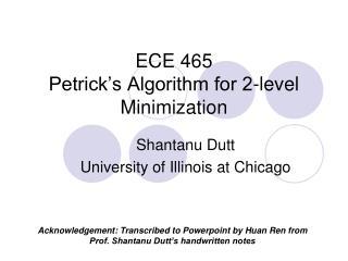 ECE 465 Petrick's Algorithm for 2-level Minimization