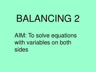 BALANCING 2