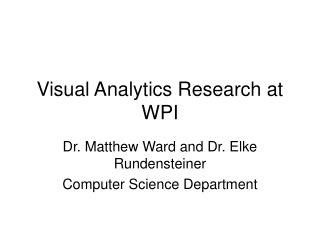 Visual Analytics Research at WPI
