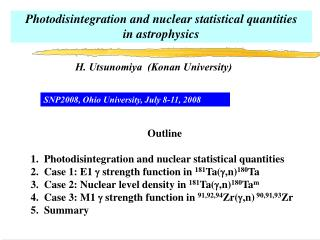 Photodisintegration and nuclear statistical quantities  in astrophysics