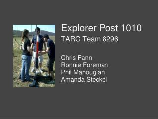 Explorer Post 1010 TARC Team 8296