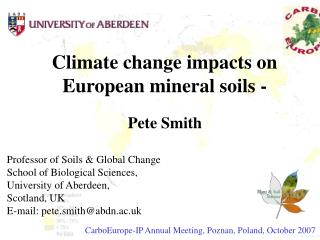Climate change impacts on European mineral soils -