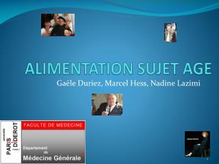 ALIMENTATION SUJET AGE