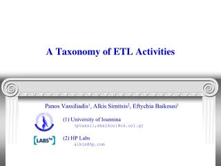 A Taxonomy of ETL Activities