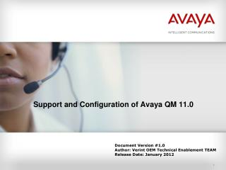 Support and Configuration of Avaya QM 11.0