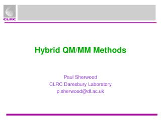 Hybrid QM/MM Methods