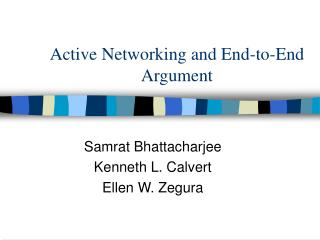 Active Networking and End-to-End Argument