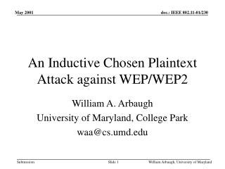 An Inductive Chosen Plaintext Attack against WEP/WEP2