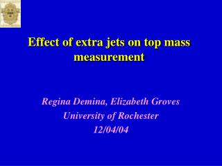 Effect of extra jets on top mass measurement