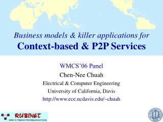 Business models & killer applications for Context-based & P2P Services