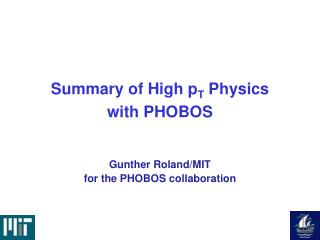 Summary of High p T  Physics  with PHOBOS