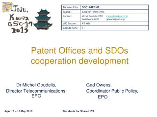 Patent Offices and SDOs  cooperation development
