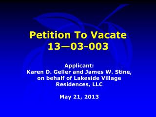 Petition To Vacate  13—03-003
