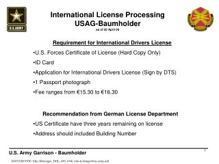 International License Processing USAG-Baumholder as of 20 April 06