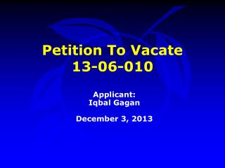 Petition To Vacate  13-06-010
