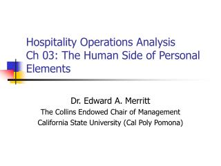 Hospitality Operations Analysis Ch 03: The Human Side of Personal Elements