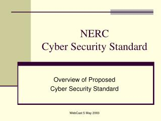 NERC  Cyber Security Standard
