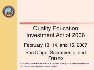 Quality Education  Investment Act of 2006 (QEIA)