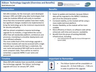 iEdison  Technology Upgrade (Overview and Benefits)
