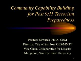 Community Capability Building for Post 9/11 Terrorism Preparedness