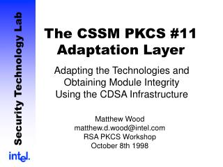 The CSSM PKCS #11 Adaptation Layer