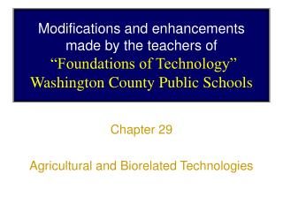 Chapter 29 Agricultural and Biorelated Technologies